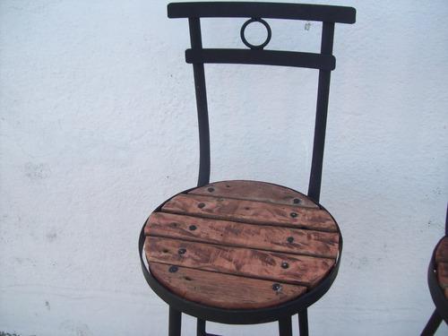 taburete butaca silla alta de madera pique y hierro nuevas