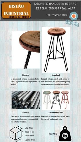taburete hierro madera banqueta barra vintage industrial