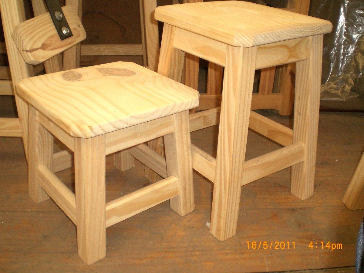 Taburete o banqueta de madera 60 cm 493 00 en mercado for Como hacer herrajes rusticos
