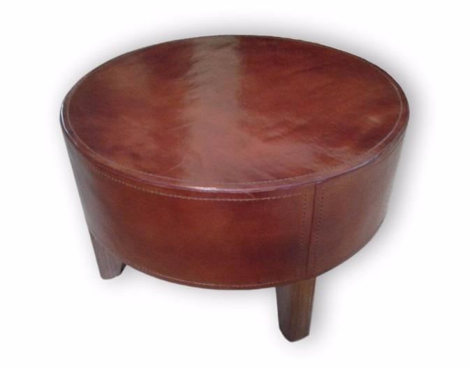 Excepcional Muebles De Cuero Redondo Grande Otomana Galería ...