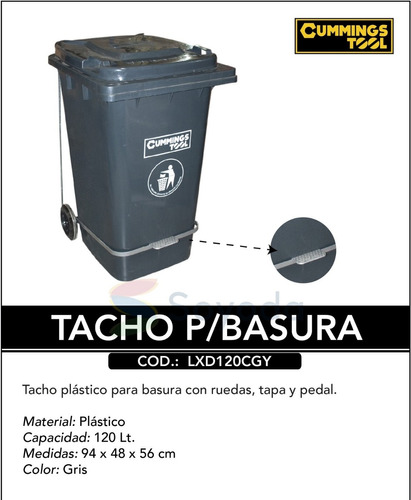 tacho basura industrial 240 o 120 litros tapa ruedas pedal