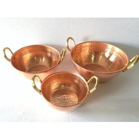 Tacho Cobre 1 L +  2 L + 3 L Com Alça + Brinde Metal Arte
