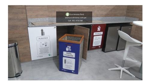 tachos ecológicos hechos con tetra pak reciclado