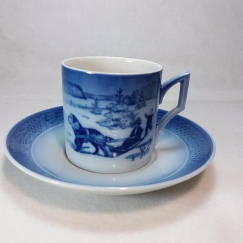 tacita de café de porcelana royal copenhagen navidad de 1986