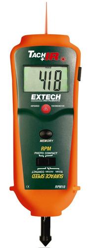 tacômetro extech de foto/contato com termômetro rpm10