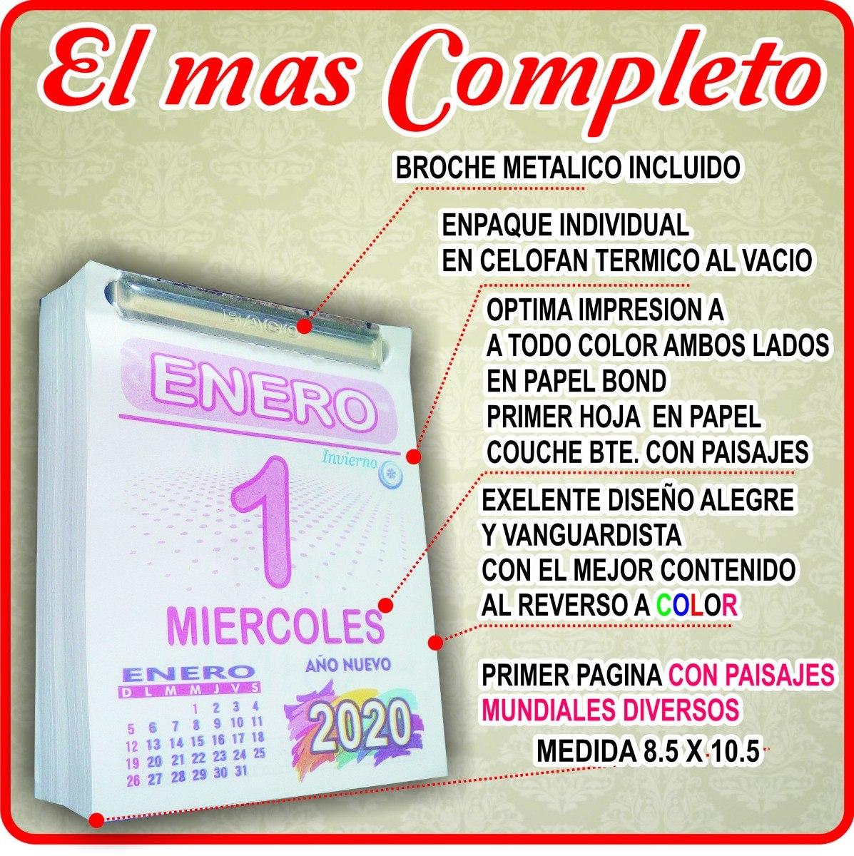 Calendario De 2020 Completo.Taco Calendario Block Exfoliador 2020 A Colores