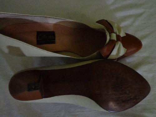 tacones beige y marron nro.35 1/2 colombianos (usados)