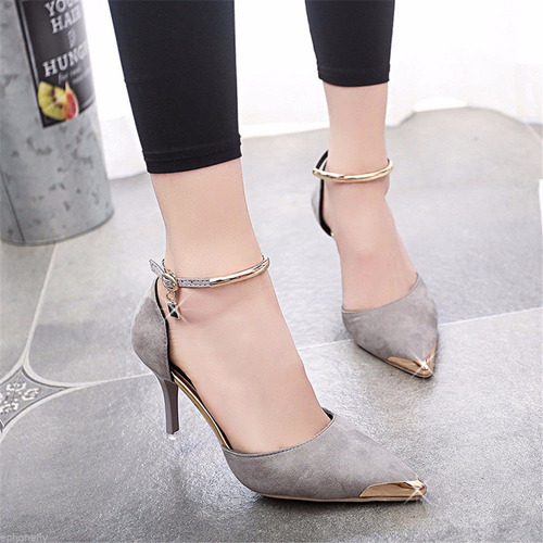 tacones luxury grises mujer toe suede buckle strap stiletto