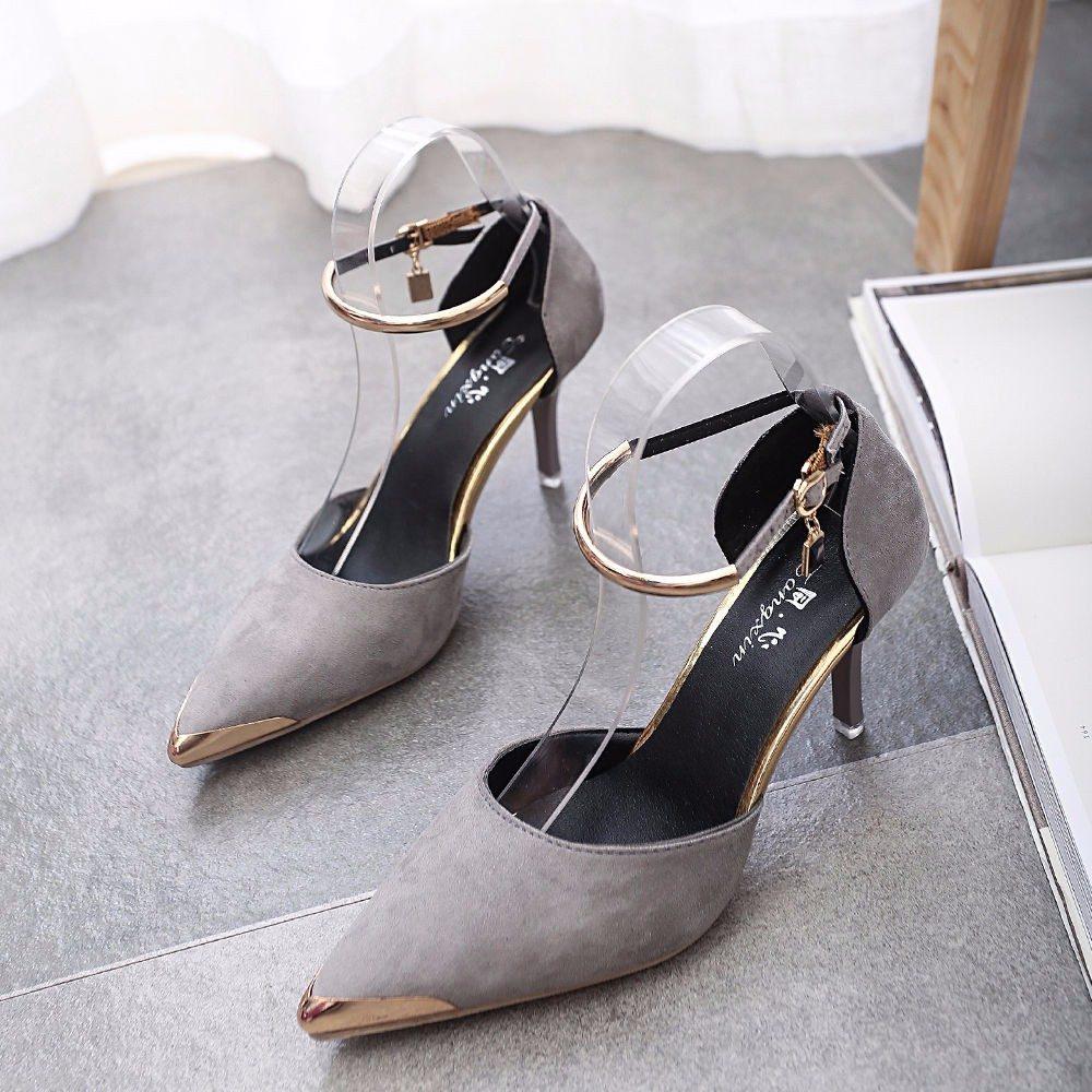 d25f51a8319 tacones luxury grises mujer toe suede buckle strap stiletto. Cargando zoom.