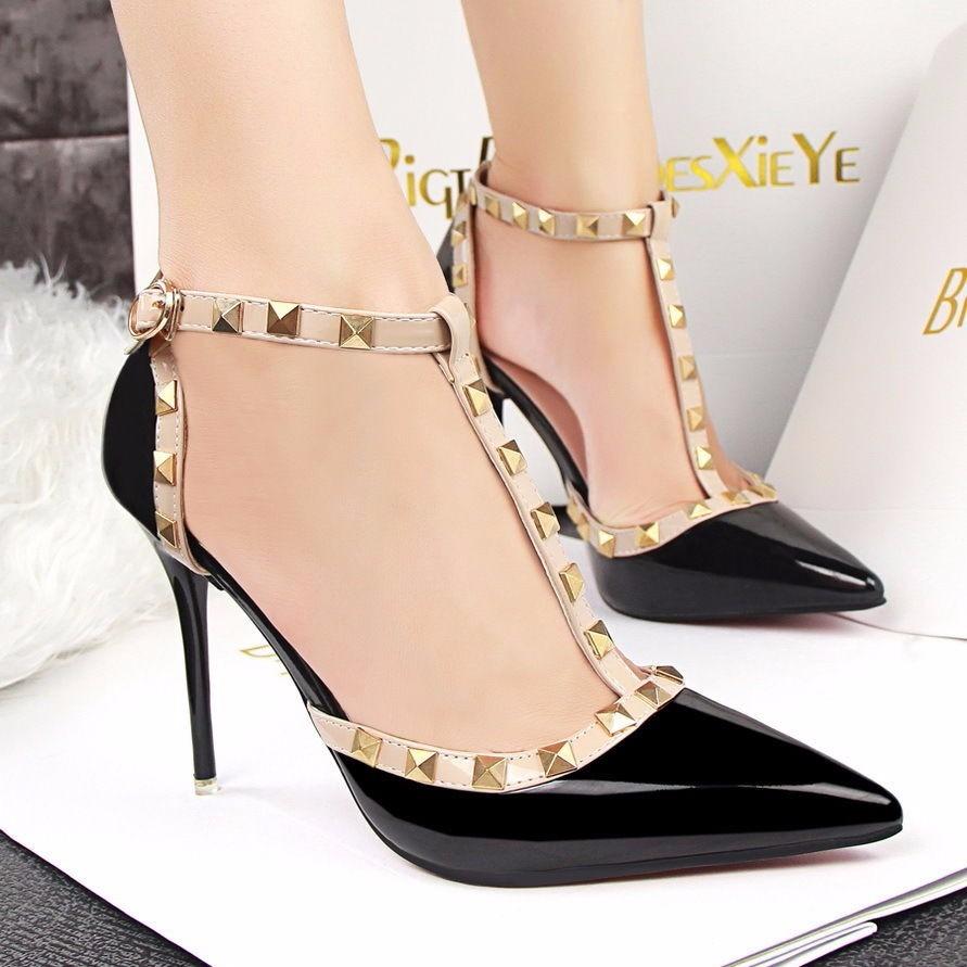 tacones negros con taches fashion sexy stiletto pointed-toe. Cargando zoom. 892ff2b16055