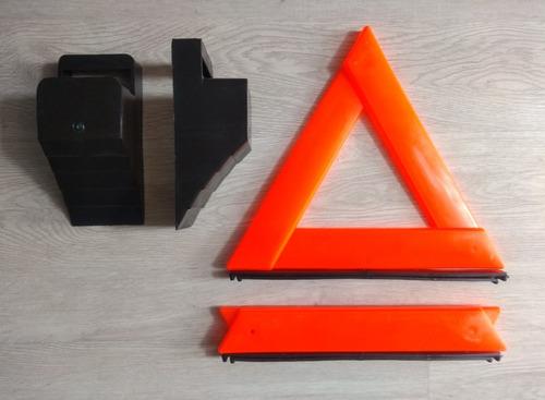 tacos para bloqueo llantas, triángulos señalización, guantes