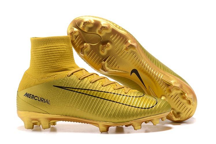50b794ca0eb86 Tacos Taquetes Nike Mercurial Superfly V Cr7 Nuevos Dorados ...