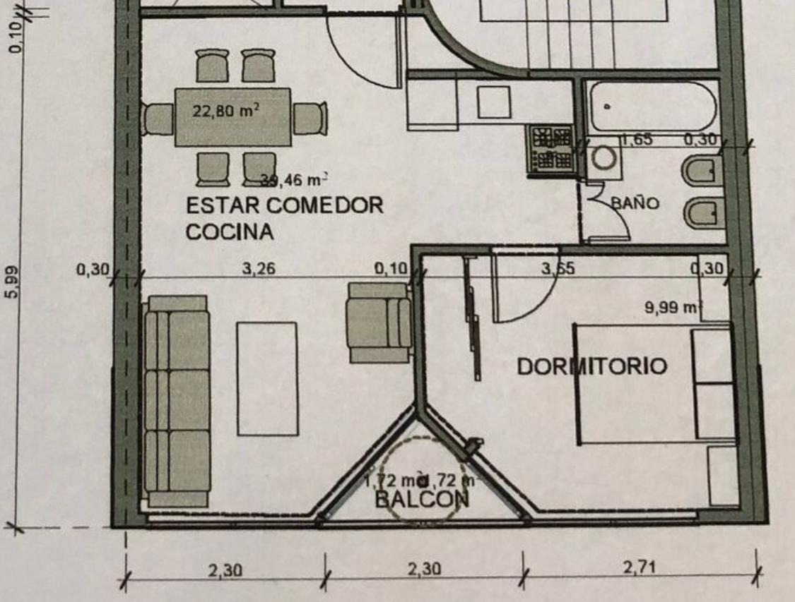 tacuari y belgrano - piso alto - apto profesional - 100% luz
