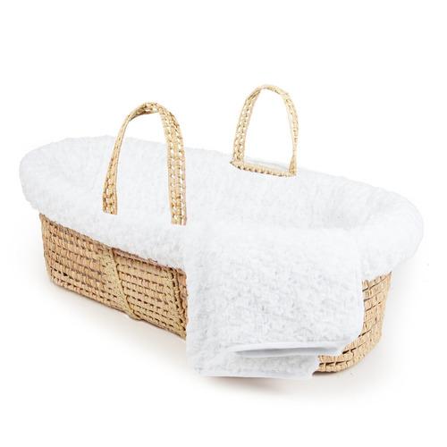 tadpoles twisted fur moisés cesta y juego de cama, blanco