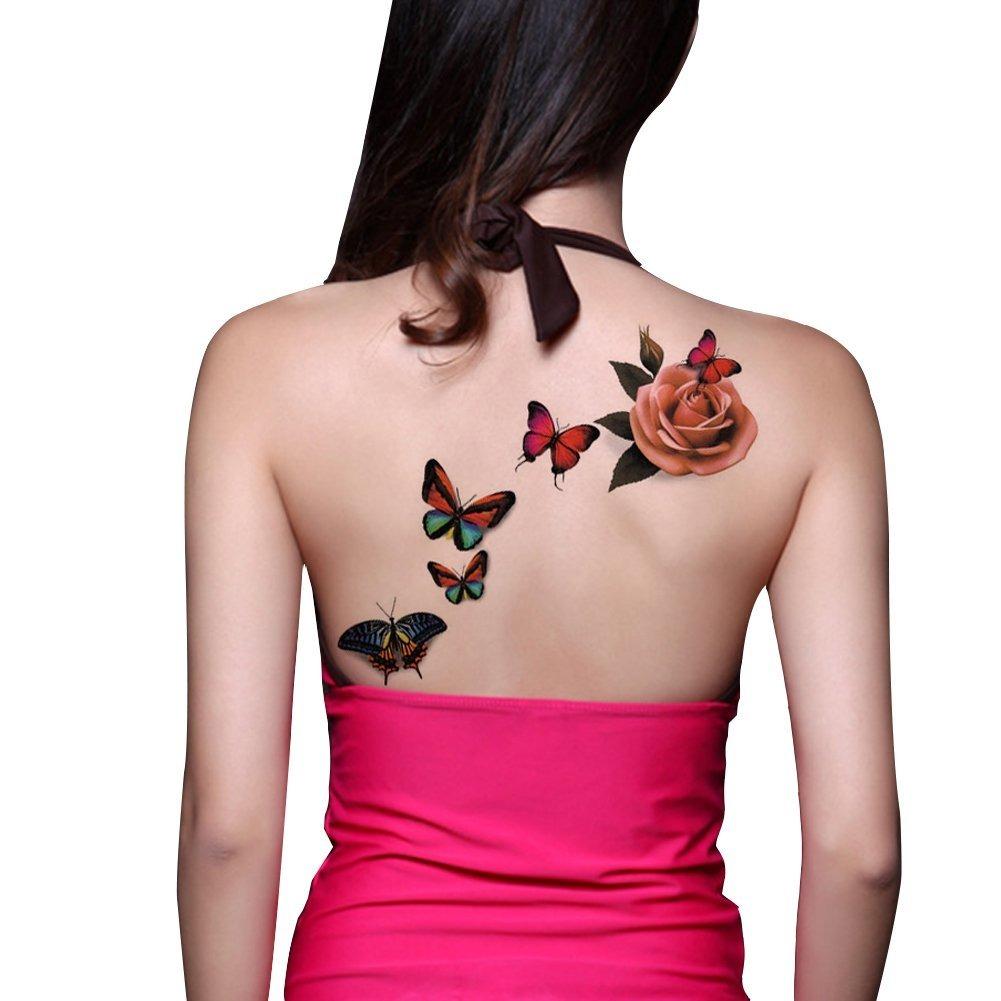 Tafly Tatuajes De Mujer Rosa Y Mariposa Body Art Tatuajes
