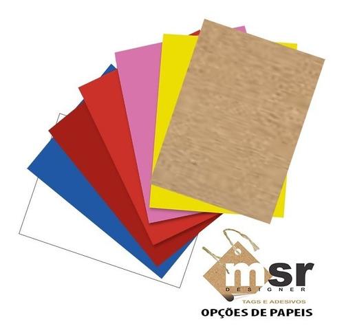 tag para laços em kraft ou color plus 100 pçs 7,5x12cm