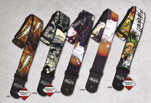 tahalí rivers color print de 2'' para guitarra o bajo