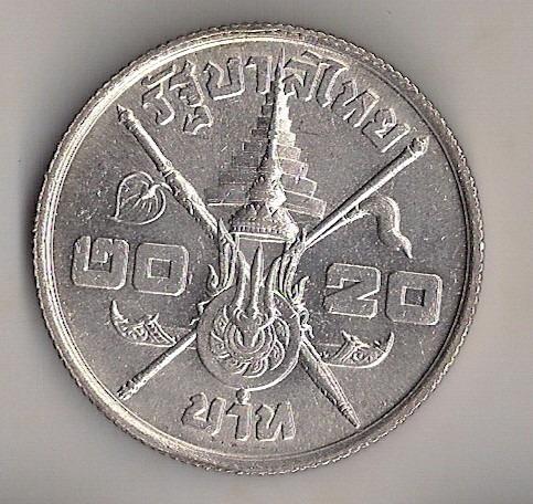 tailândia, 20 baht, prata, 1963, sob/fc!