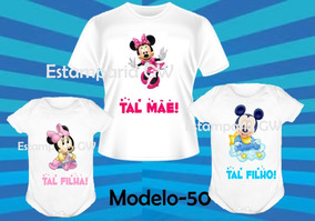 20be214a4e6b9c Tal Mãe Tal Filho(a) Camisetas Dia Das Mães C/3 Mickey Baby!