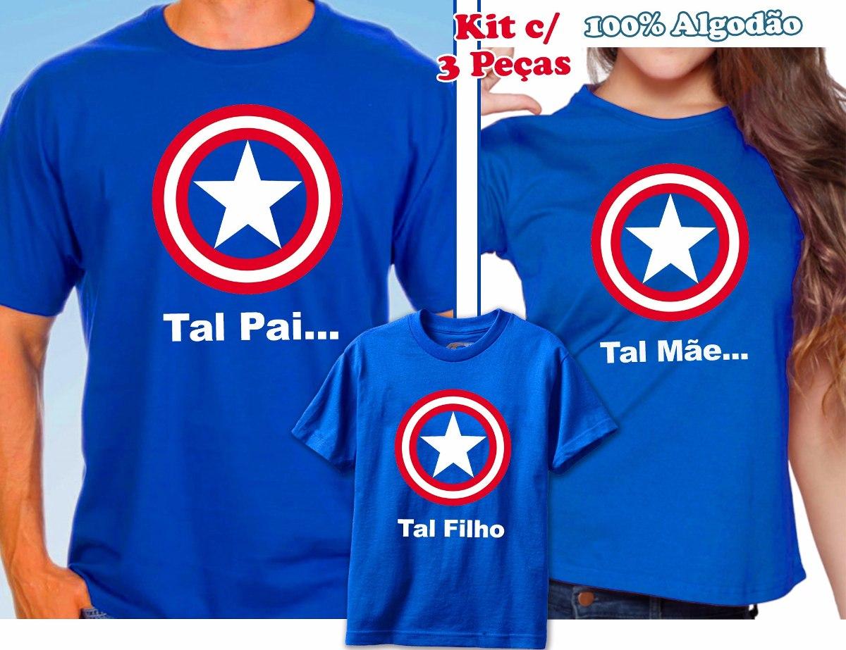 92ad60d7ca9c31 Tal Pai Tal Mãe Tal Filho(a) Capitão América - Kit C/ 4