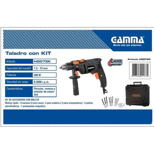 taladro 13 mm 500w gamma percutor reversa maletin y mechas