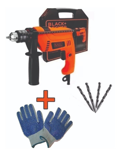 taladro 13 mm 550 w black & decker + 3 mechas+ guantes hd555