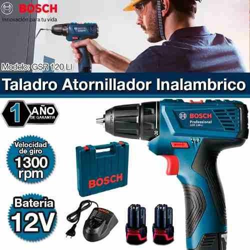 taladro a bateria 12v 10mm + 2 bat bosch + carg gsr 120li