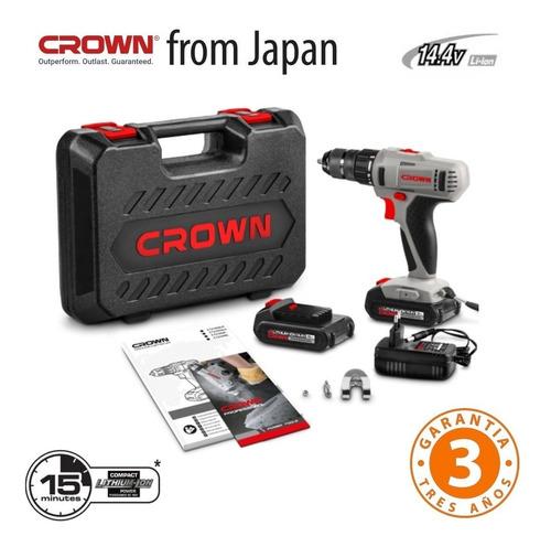 taladro atornillador 14.4v crown japan 2 baterias + 58 pcs