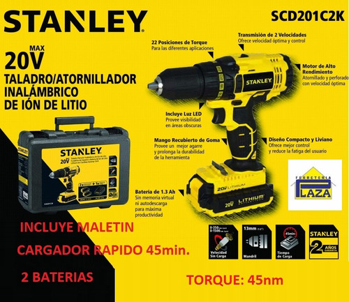 taladro atornillador 2 baterías 20v litio stanley scd201c2k