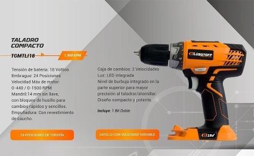 taladro atornillador bateria powerlink lusqtoff 18v tgmtli18