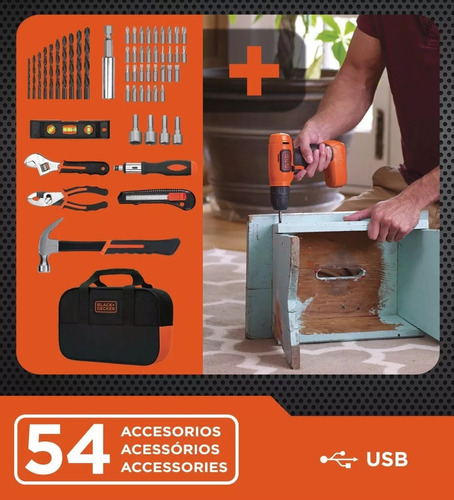 taladro atornillador black decker 8v 10mm+ kit herramientas
