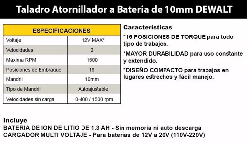 taladro atornillador dewalt 12v bat litio inalambrico dcd700