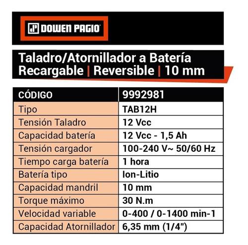 taladro atornillador dowen pagio sistema 2 en 1 9992981