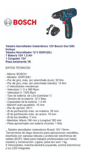 taladro atornillador inalámbrico bosch gsr 120 li 12v litio