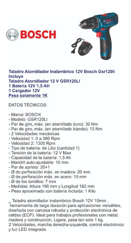 taladro atornillador inalámbrico bosch gsr120 li 12 v litio