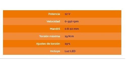 taladro atornillador inalambrico c/ bateria 12v daewoo led