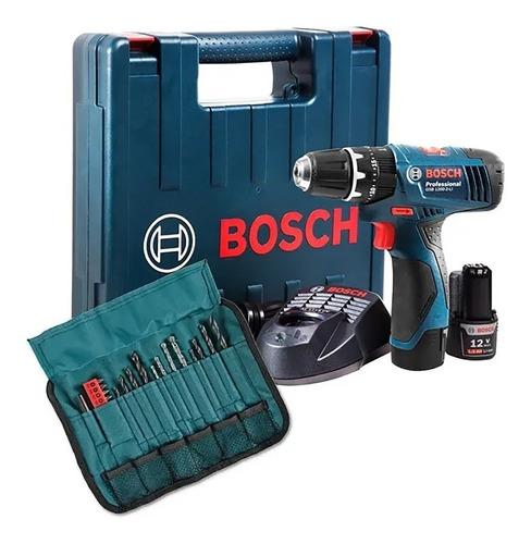 taladro atornillador percutor bosch 12v 2 baterias + 23acc