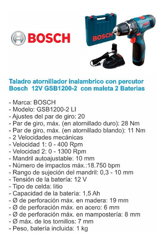 taladro atornillador percutor bosch 12v maletin 2 baterias
