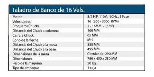 taladro banco motor 3/4 hp 110v 16vel 5/8 pulg silverline