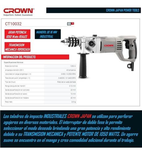 taladro crown 16mm 1050watts industrial + mechas potente