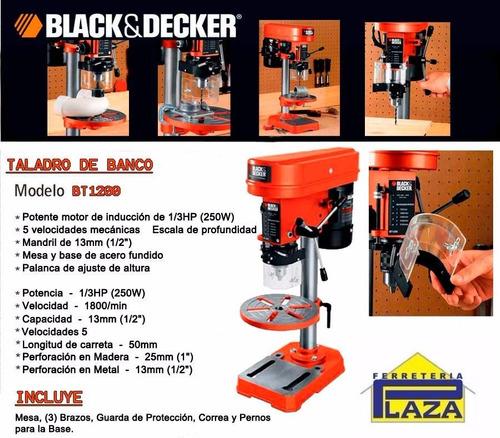 taladro de banco 13mm black and decker bt1200 250w 5 vel