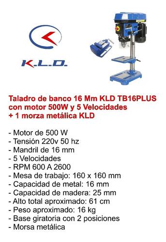taladro de banco 16 mm 500w 5 velocidades kld + morsa plana