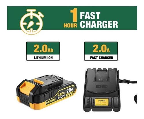 taladro de impacto máximo de 1600 lbrs 20v bateria cargador