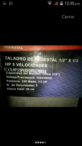 taladro de pedestal 5 velocidades 1/3 hp mandril