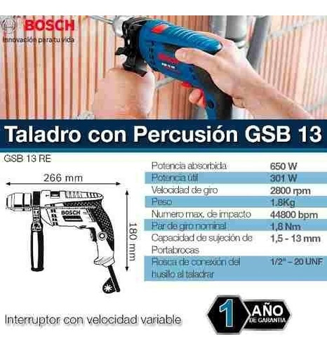 taladro de percusión bosch 650w gsb 13 re 13mm maletin
