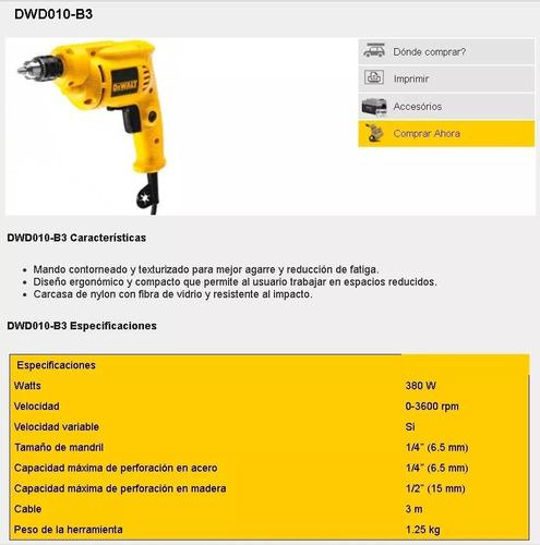 taladro de rotacion dewalt 1/4  0-3600rpm  dwd010-b3 550w