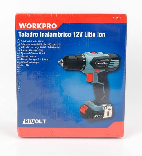 taladro inalambrico 12v workpro w122032 2 vel bivolt