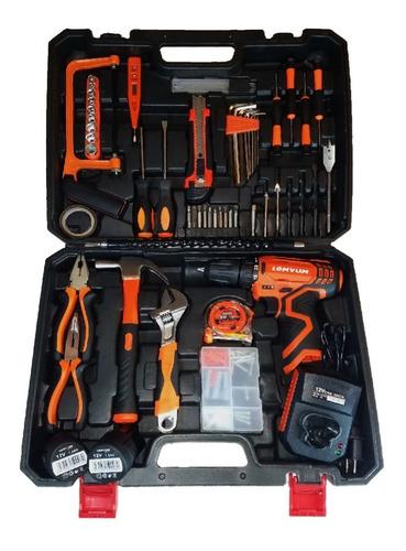 taladro inalambrico atornillador + herramientas 2 bat 16.8 v