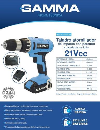taladro inalambrico atornillador percutor 21vcc gamma g12301