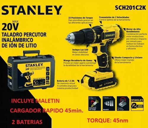 taladro inalambrico stanley 20v percutor sch201c2k +maletin